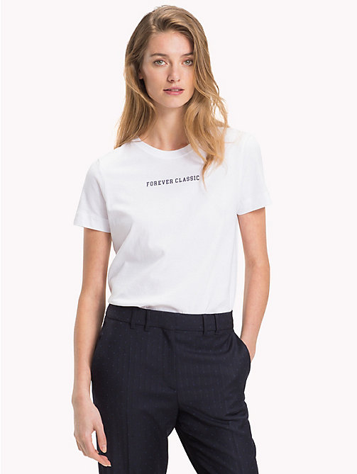 TOMMY HILFIGER Slogan Crew Neck T-Shirt - CLASSIC WHITE / SKY CAPTAIN - TOMMY HILFIGER TEST PARENT - main image