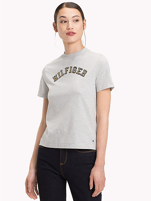 TOMMY HILFIGER Organic Cotton Logo T-Shirt - LIGHT GREY HTR - TOMMY HILFIGER Sustainable Evolution - main image