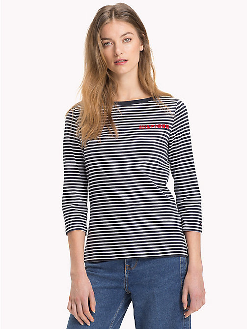 TOMMY HILFIGER Boat Neck T-Shirt - MIDNIGHT / CLASSIC WHITE STP - TOMMY HILFIGER T-Shirts - main image