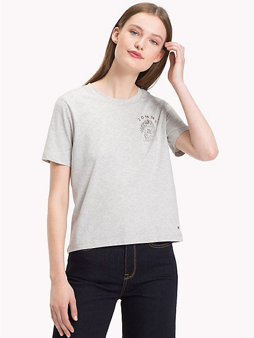TOMMY HILFIGER Crew Neck Crest T-Shirt - LIGHT GREY HTR - TOMMY HILFIGER T-Shirts - main image