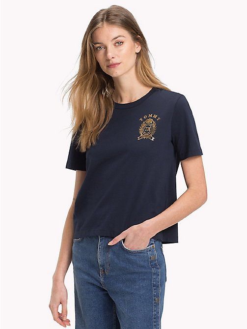 TOMMY HILFIGER Crew Neck Crest T-Shirt - MIDNIGHT - TOMMY HILFIGER T-Shirts - main image