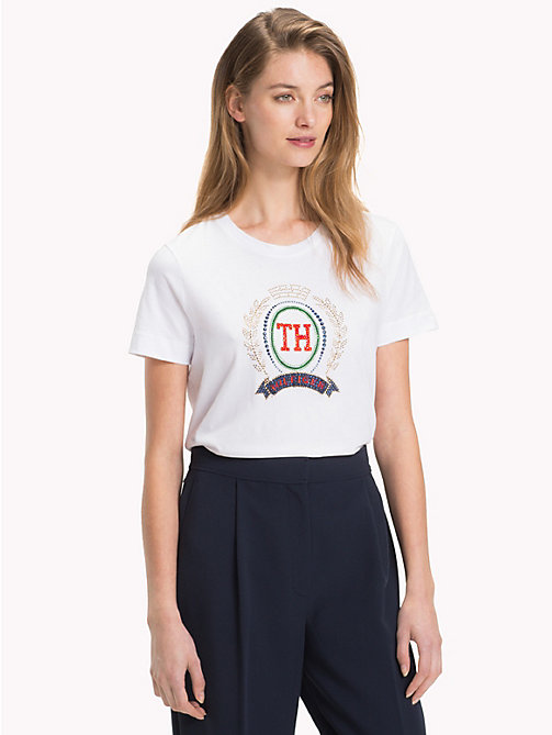 TOMMY HILFIGER Gem Organic Cotton T-Shirt - CLASSIC WHITE - TOMMY HILFIGER Sustainable Evolution - main image