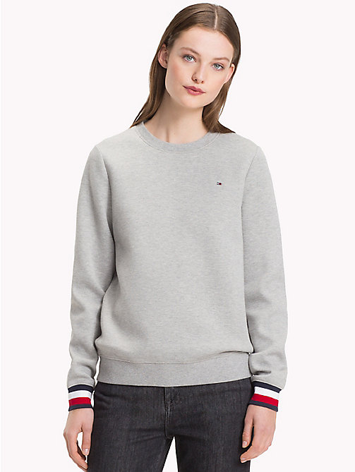 TOMMY HILFIGER Sweatshirt met signature-manchet - LIGHT GREY HTR - TOMMY HILFIGER Sweatshirts - main image