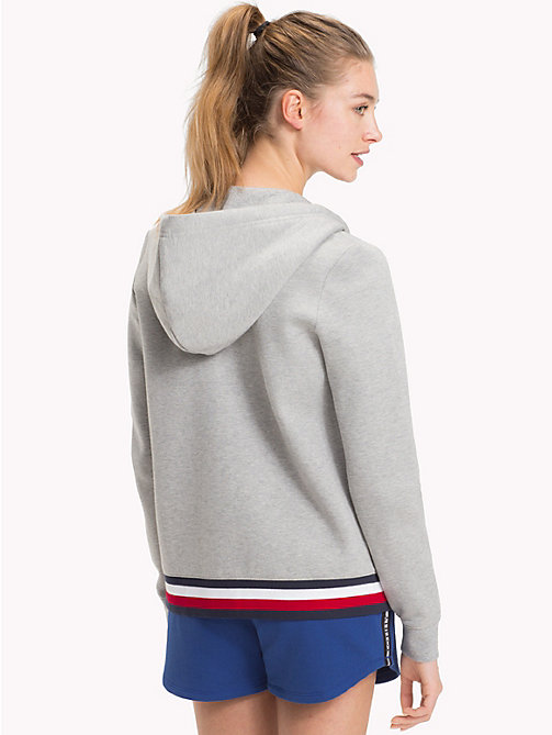 TOMMY HILFIGER Signature Stripe Hooded Sweatshirt - LIGHT GREY HTR - TOMMY HILFIGER Women - detail image 1