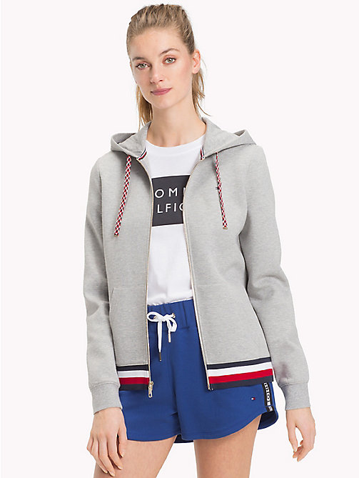 TOMMY HILFIGER Signature Stripe Hooded Sweatshirt - LIGHT GREY HTR - TOMMY HILFIGER Sale Women - main image