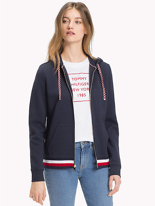 TOMMY HILFIGER Signature Stripe Hooded Sweatshirt - MIDNIGHT - TOMMY HILFIGER Sale Women - main image
