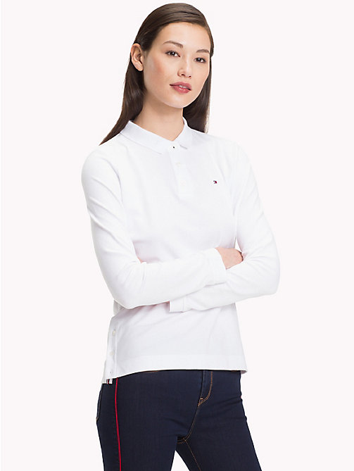 TOMMY HILFIGER Regular Fit Long Sleeve Polo Shirt - CLASSIC WHITE - TOMMY HILFIGER Polo Shirts - main image