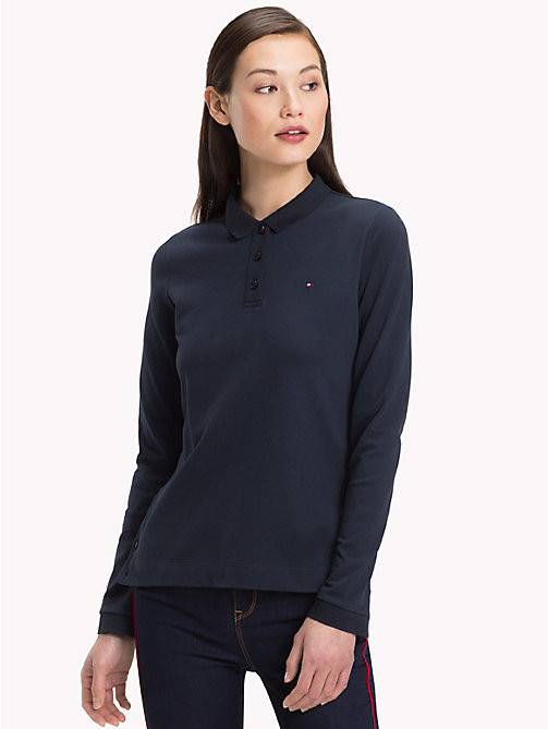 TOMMY HILFIGER Regular Fit Long Sleeve Polo Shirt - MIDNIGHT - TOMMY HILFIGER Polo Shirts - main image