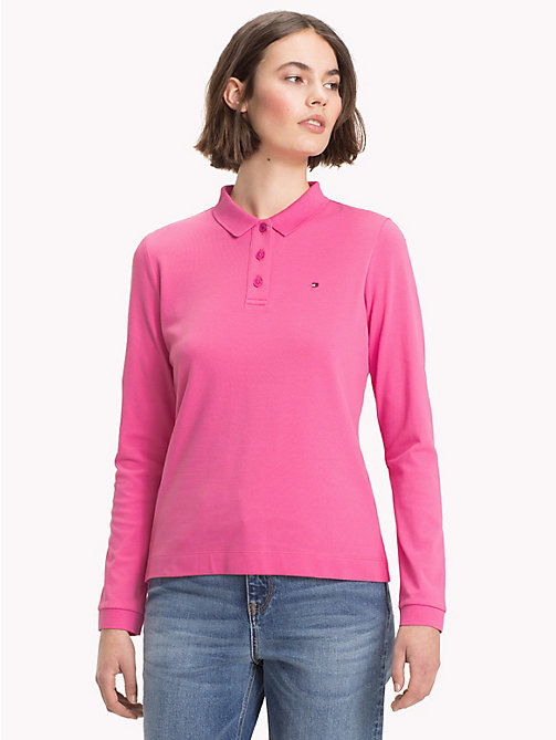 TOMMY HILFIGER Regular Fit Long Sleeve Polo Shirt - CHATEAU ROSE - TOMMY HILFIGER NEW IN - main image