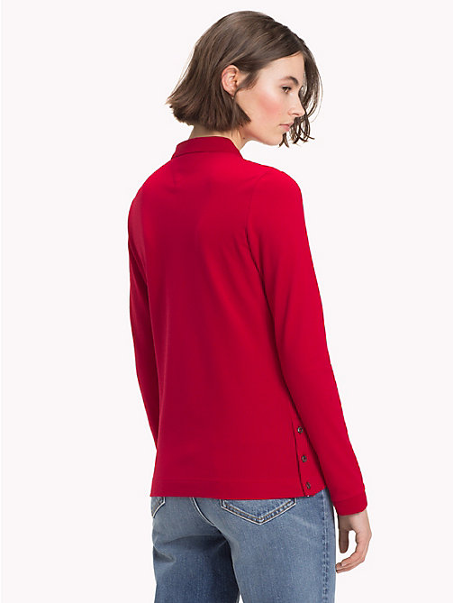 TOMMY HILFIGER Regular Fit Long Sleeve Polo Shirt - JESTER RED - TOMMY HILFIGER Polo Shirts - detail image 1