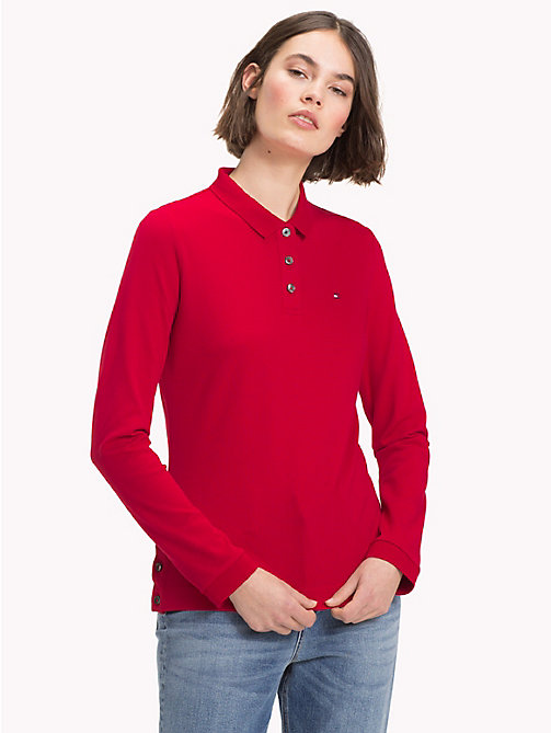 TOMMY HILFIGER Regular Fit Long Sleeve Polo Shirt - JESTER RED - TOMMY HILFIGER Polo Shirts - main image