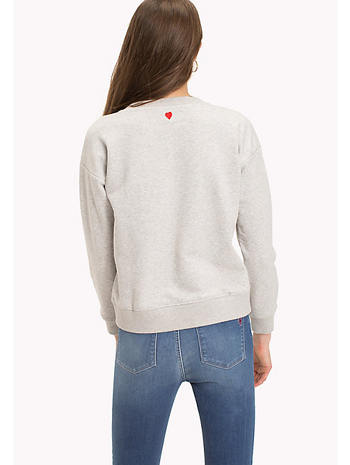 TOMMY HILFIGER Embroidered Crew Neck Jumper - LIGHT GREY HTR - TOMMY HILFIGER TOMMYXLOVE - image détaillée 1
