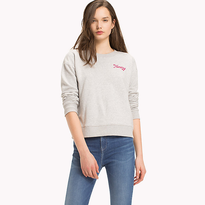 TOMMY HILFIGER Embroidered Crew Neck Jumper - CLASSIC WHITE - TOMMY HILFIGER Clothing - main image