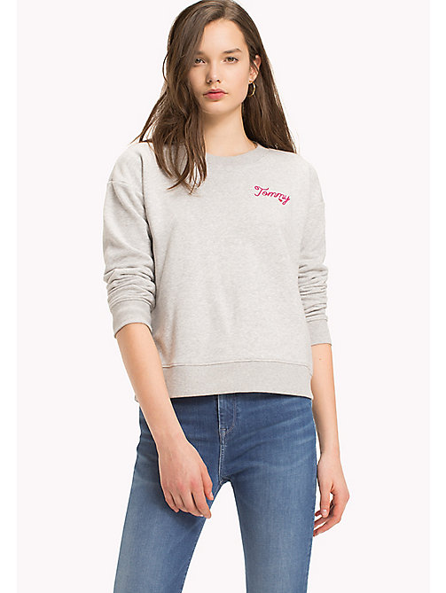 TOMMY HILFIGER Embroidered Crew Neck Sweatshirt - LIGHT GREY HTR - TOMMY HILFIGER Sweatshirts - main image