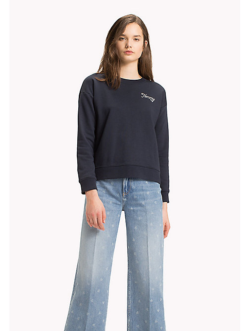TOMMY HILFIGER Embroidered Crew Neck Sweatshirt - MIDNIGHT - TOMMY HILFIGER Sweatshirts - main image