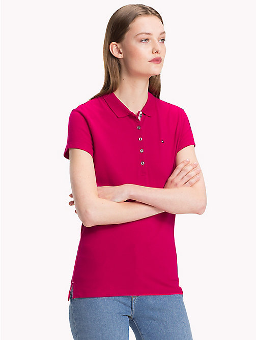 TOMMY HILFIGER Cotton Pique Polo Shirt - CERISE - TOMMY HILFIGER Polo Shirts - main image