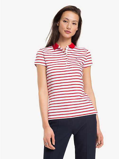 TOMMY HILFIGER Slim Fit Polo Shirt - BRETON STP / TRUE RED - TOMMY HILFIGER Polo Shirts - main image