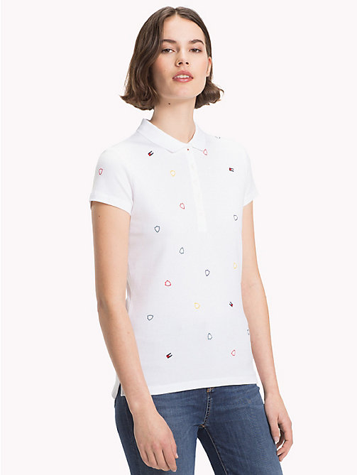 TOMMY HILFIGER Flag Embroidery Polo Shirt - CLASSIC WHITE / SHIELD MULTI - TOMMY HILFIGER Polo Shirts - main image