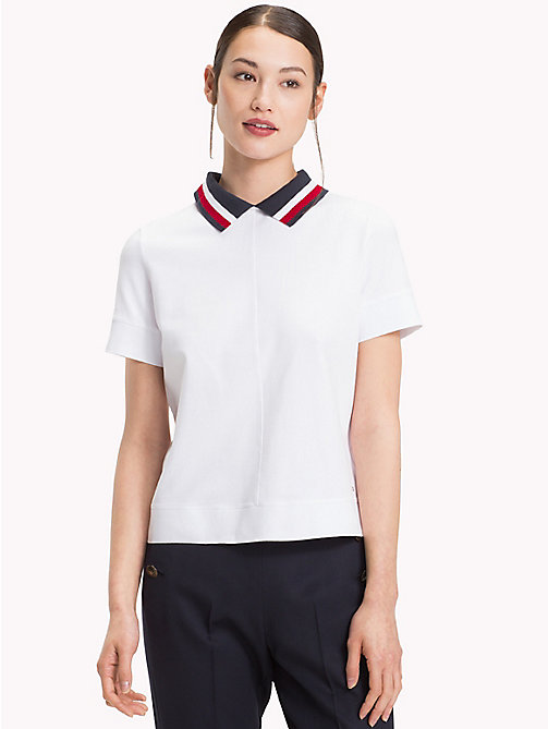 TOMMY HILFIGER Signature Tape Polo Shirt - CLASSIC WHITE - TOMMY HILFIGER Polo Shirts - main image