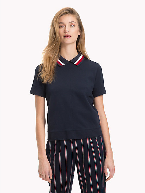 TOMMY HILFIGER Signature Tape Polo Shirt - MIDNIGHT - TOMMY HILFIGER Polo Shirts - main image