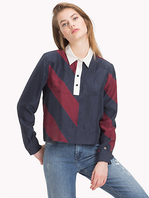 TOMMY HILFIGER Tommy Icons Silk Blouse - ICON  DIAGONAL STP / SKY CAPTAIN - TOMMY HILFIGER TOMMY NOW WOMEN - main image