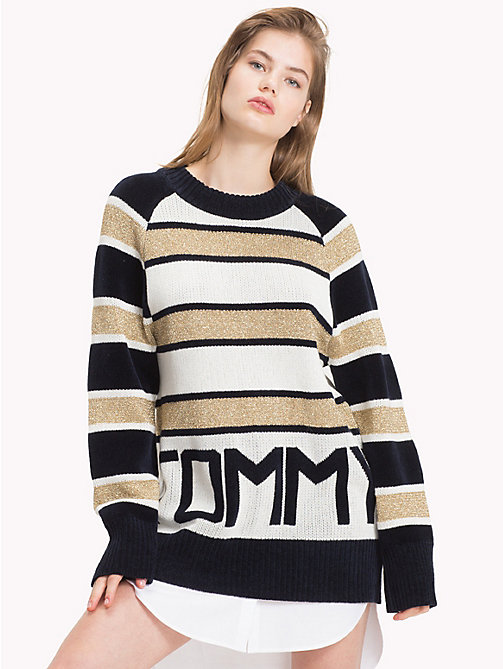 TOMMY HILFIGER Tommy Icons Logo Sweater - MIDNIGHT / SNOW WHITE / GOLD - TOMMY HILFIGER TOMMY ICONS - main image