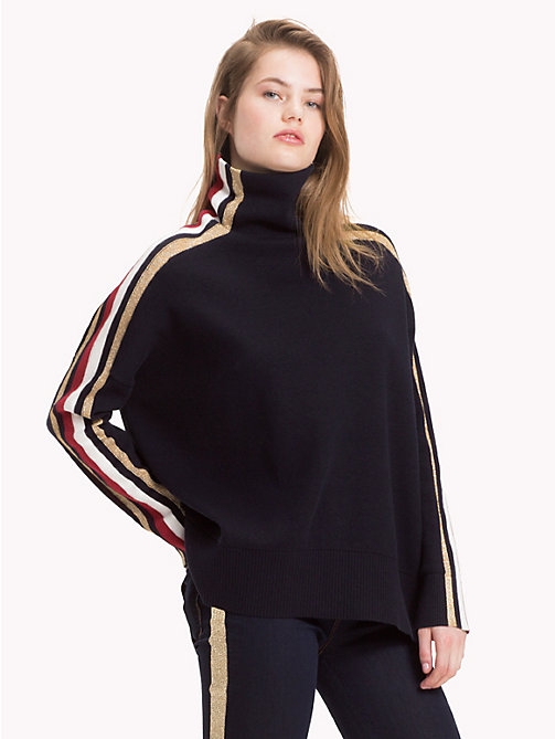 TOMMY HILFIGER Tommy Icons Mock Neck Sweater - MIDNIGHT MULTI - TOMMY HILFIGER TOMMY ICONS - main image