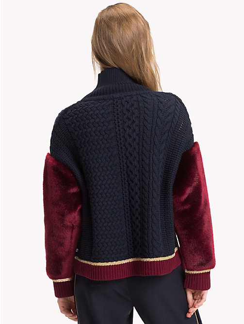 TOMMY HILFIGER Tommy Icons Chunky Sweater - MIDNIGHT / CABERNET -  TOMMY ICONS - detail image 1
