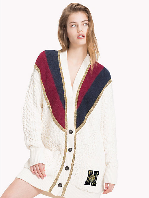 TOMMY HILFIGER Tommy Icons Metallic Stripe Cardigan - SNOW WHITE MULTI - TOMMY HILFIGER Clothing - main image
