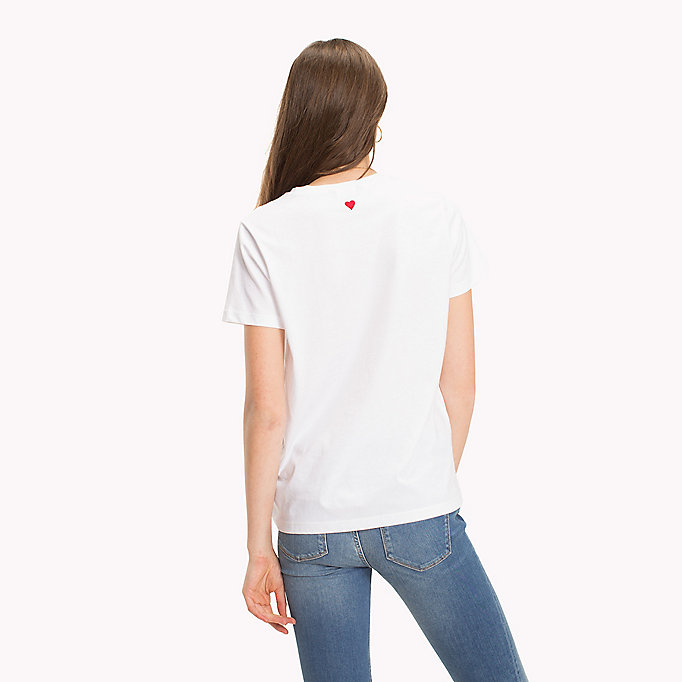TOMMY HILFIGER Logo Embroidered Crew Neck T-Shirt - CLASSIC WHITE / PINK - TOMMY HILFIGER Femmes - image détaillée 1