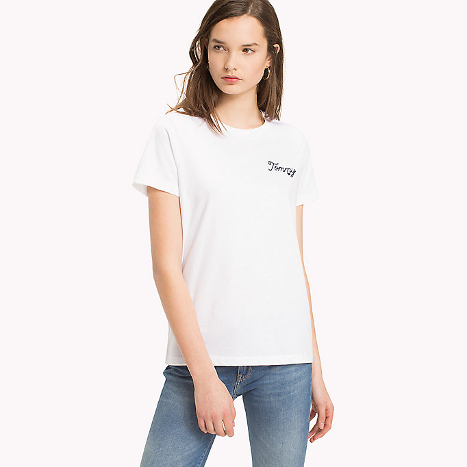 TOMMY HILFIGER Logo Embroidered Crew Neck T-Shirt - CLASSIC WHITE / PINK - TOMMY HILFIGER Femmes - image principale