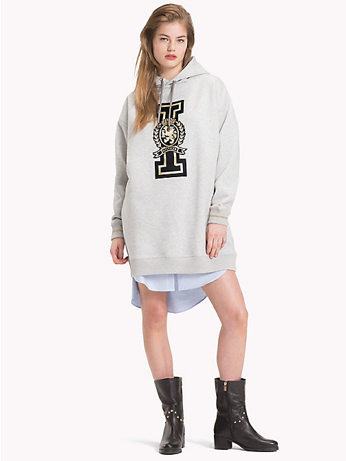 TOMMY HILFIGER Robe courte Tommy Icons à capuche - LIGHT GREY HTR -  TOMMY ICONS - image principale
