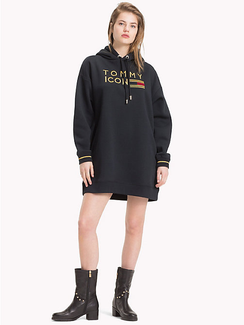 TOMMY HILFIGER Tommy Icons Fleece Dress - BLACK BEAUTY - TOMMY HILFIGER TOMMY NOW WOMEN - main image