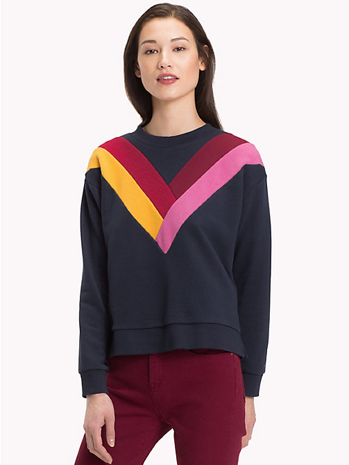 TOMMY HILFIGER Colour-Blocked Chevron Sweatshirt - MIDNIGHT - TOMMY HILFIGER Winter Warmers - main image