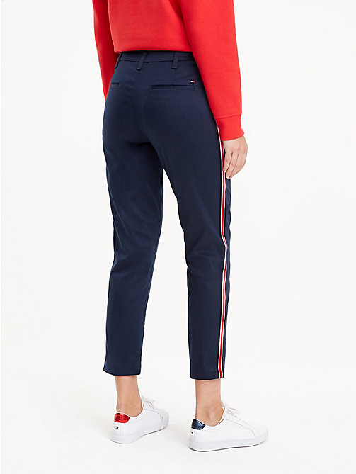 TOMMY HILFIGER Signature Tape Chinos - MIDNIGHT - TOMMY HILFIGER Cropped Trousers - detail image 1