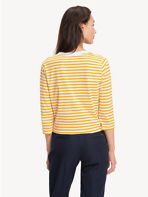 TOMMY HILFIGER Organic Cotton Stripe T-Shirt - BRANDED STP / SUNSHINE YELLOW - TOMMY HILFIGER Sustainable Evolution - detail image 1