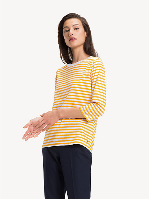 TOMMY HILFIGER Organic Cotton Stripe T-Shirt - BRANDED STP / SUNSHINE YELLOW - TOMMY HILFIGER Sustainable Evolution - main image
