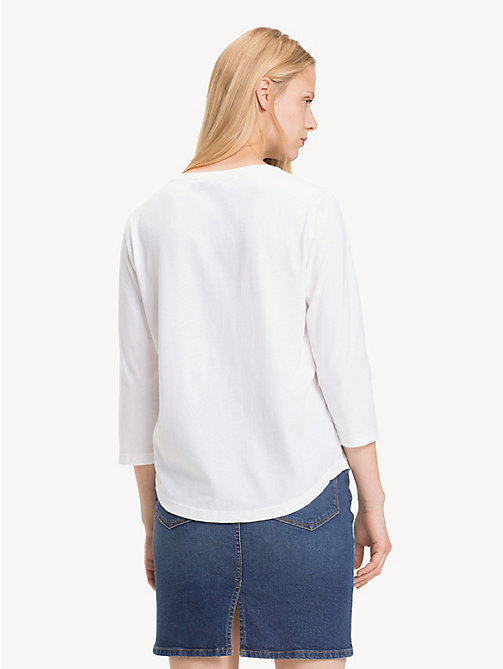TOMMY HILFIGER Cotton Logo Top - CLASSIC WHITE - TOMMY HILFIGER Tops - detail image 1
