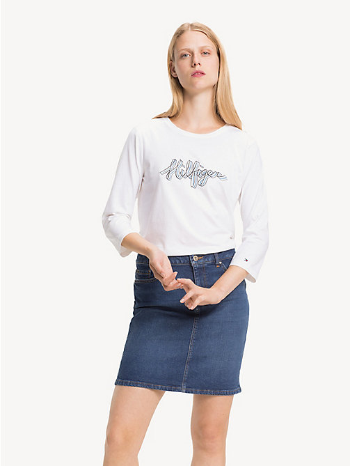 TOMMY HILFIGER Cotton Logo Top - CLASSIC WHITE - TOMMY HILFIGER T-Shirts - main image