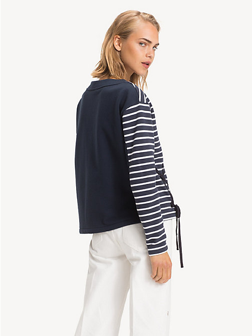 TOMMY HILFIGER All-Over Stripe Ribbon Detail Sweatshirt - BRETON STP / SKY CAPTAIN - TOMMY HILFIGER NEW IN - detail image 1