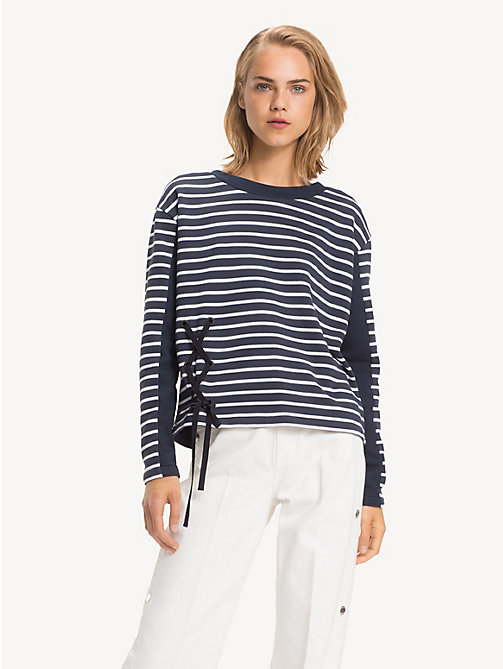 TOMMY HILFIGER All-Over Stripe Ribbon Detail Sweatshirt - BRETON STP / SKY CAPTAIN - TOMMY HILFIGER NEW IN - main image