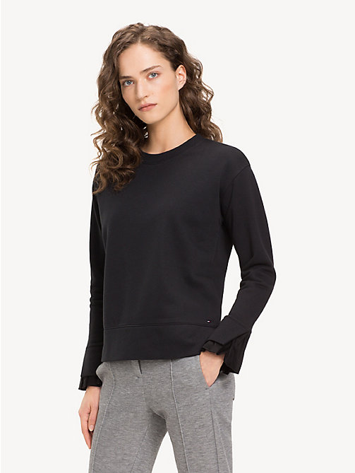 TOMMY HILFIGER Funnel Sleeve Crew Neck Sweatshirt - BLACK BEAUTY - TOMMY HILFIGER NEW IN - main image