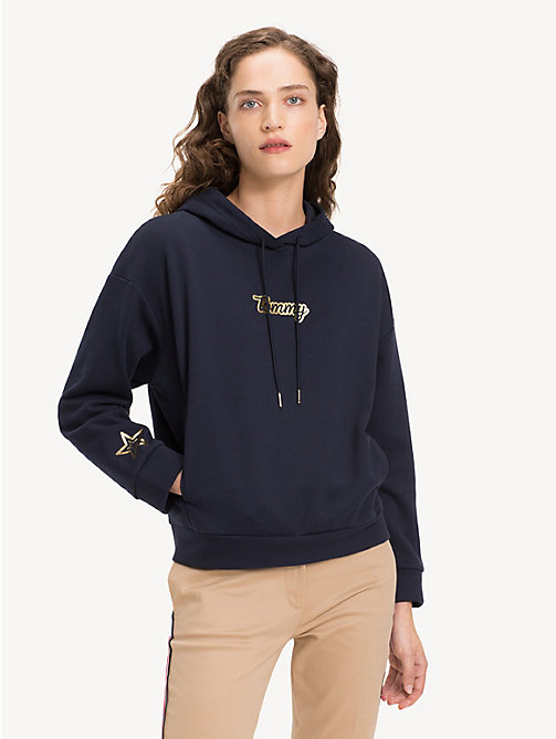 TOMMY HILFIGER Cotton Blend Star Hoody - MIDNIGHT - TOMMY HILFIGER Winter Warmers - main image