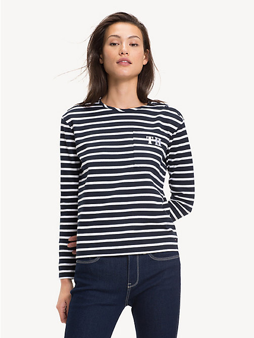TOMMY HILFIGER All-Over Stripe Long-Sleeve Top - BRETON STP / SKY CAPTAIN - TOMMY HILFIGER Tops - main image