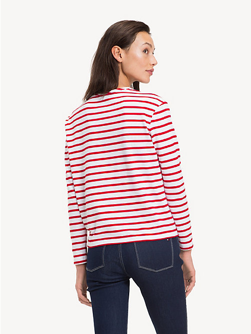 TOMMY HILFIGER All-Over Stripe Long-Sleeve Top - BRETON STP / TRUE RED - TOMMY HILFIGER Tops - detail image 1