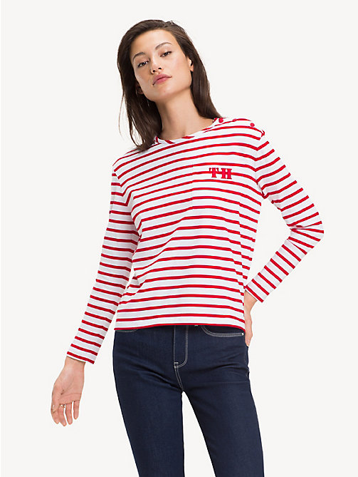 TOMMY HILFIGER All-Over Stripe Long-Sleeve Top - BRETON STP / TRUE RED - TOMMY HILFIGER Tops - main image