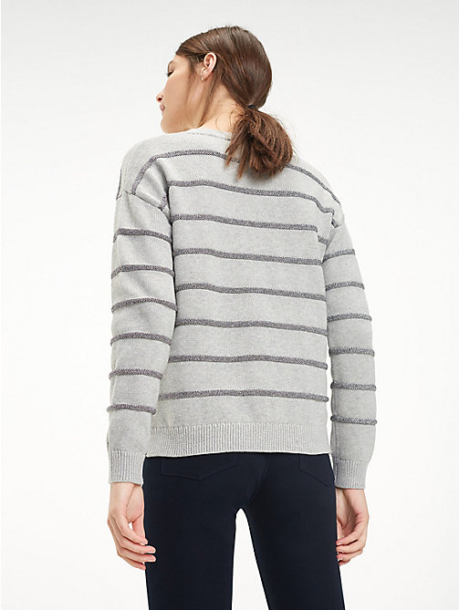 TOMMY HILFIGER Gestreifter Bio-Baumwollpullover - LIGHT GREY HTR - TOMMY HILFIGER Sustainable Evolution - main image 1