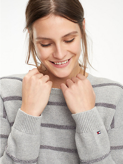 TOMMY HILFIGER Gestreifter Bio-Baumwollpullover - LIGHT GREY HTR - TOMMY HILFIGER Sustainable Evolution - main image