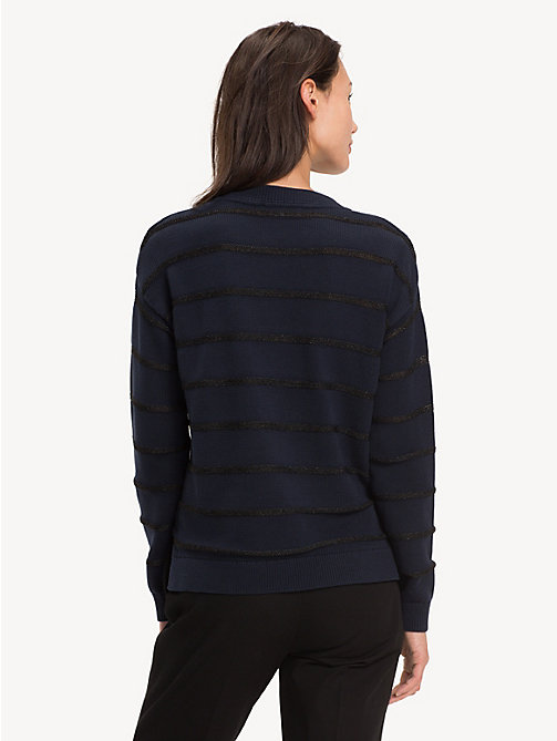 TOMMY HILFIGER Gestreifter Bio-Baumwollpullover - MIDNIGHT - TOMMY HILFIGER Sustainable Evolution - main image 1