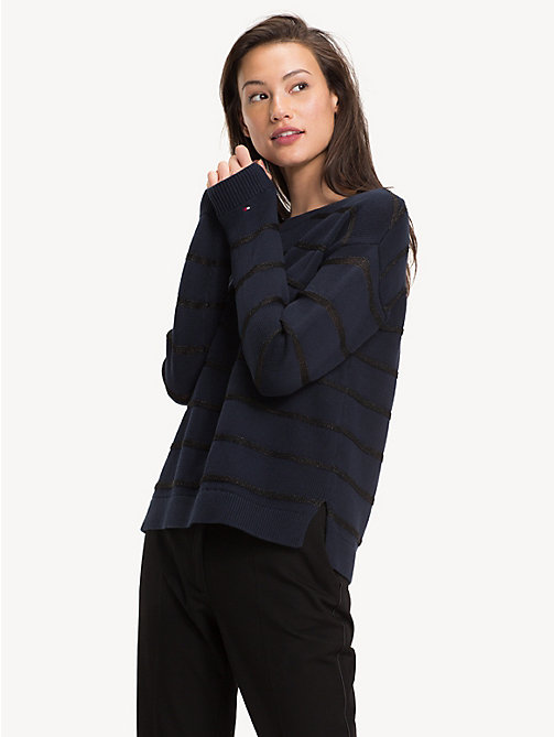 TOMMY HILFIGER Pull rayé en coton bio - MIDNIGHT - TOMMY HILFIGER Sustainable Evolution - image principale